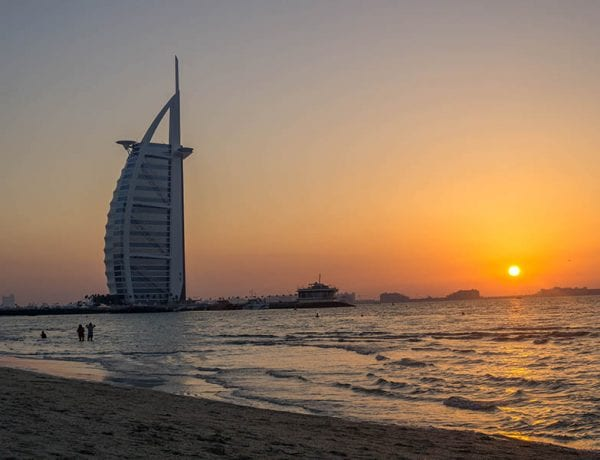 sunset beach in dubai