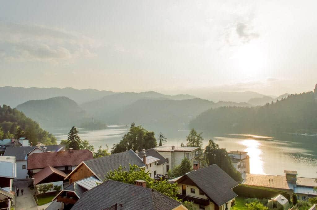 Uitzicht op het Meer van Bled