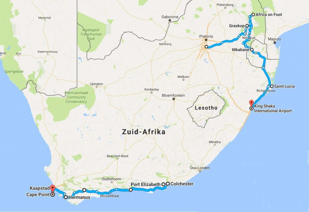 Route Zuid Afrika