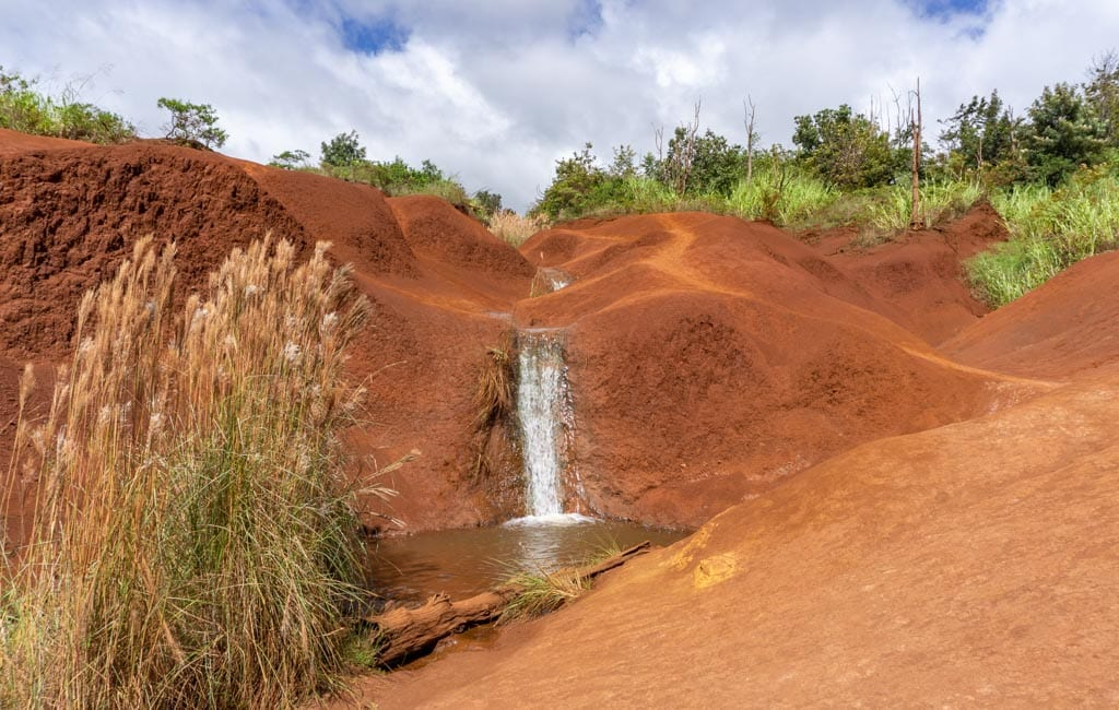 Red dirt waterfall kauai